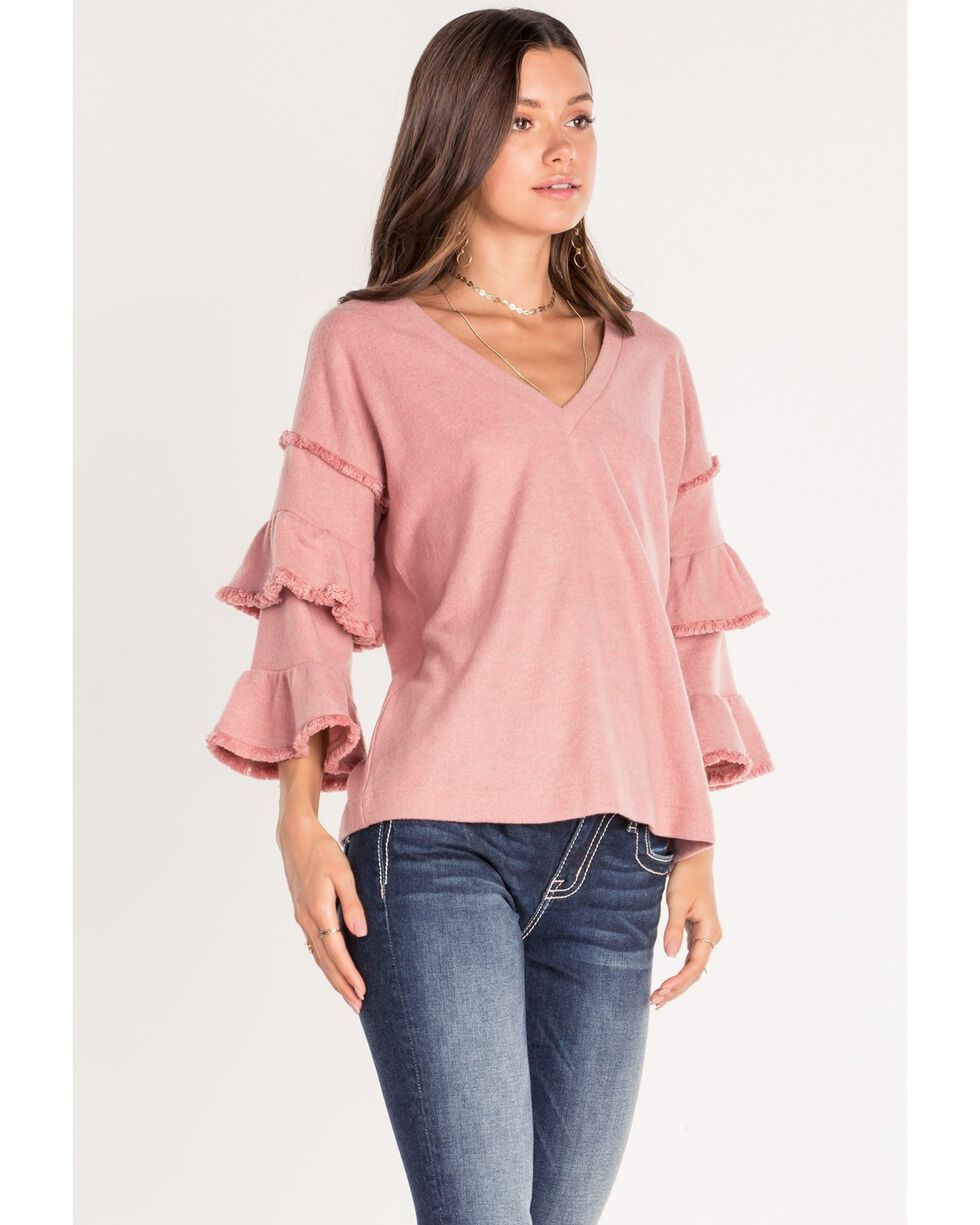 Miss Me Women's Double Ruffle Long Sleeve Top , Blush, hi-res
