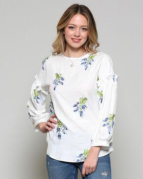 CES FEMME Women's White Floral Shirt , White, hi-res