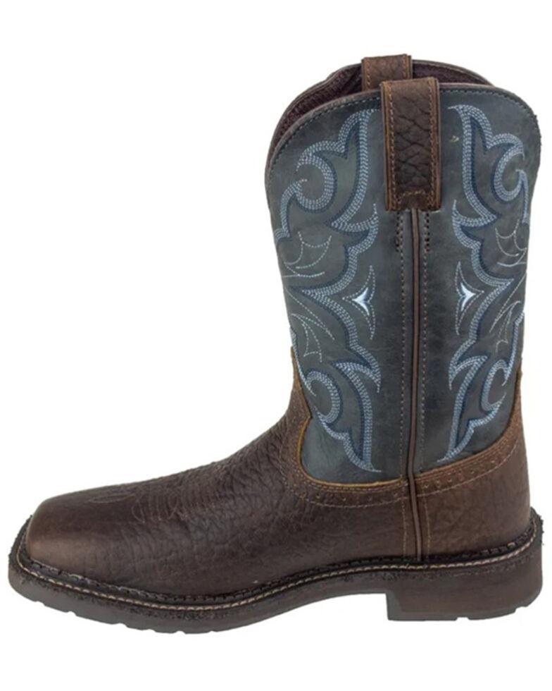 Justin Men's Amarillo Slate Waterproof Western Work Boots - Soft Toe, Brown, hi-res