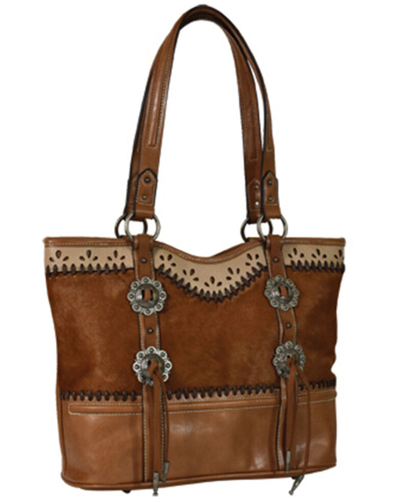 Justin Women's Concho Hair-On Tote Bag, Brown, hi-res