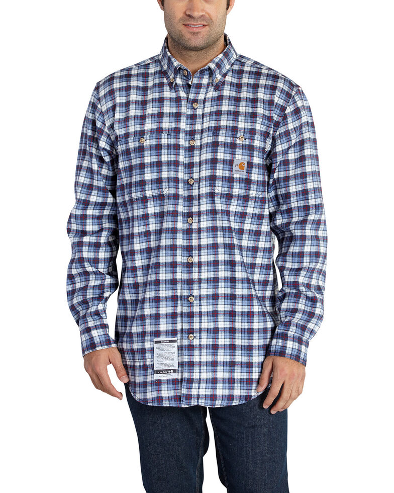 Carhartt Men's Flame Resistant Navy Classic Plaid Shirt, Navy, hi-res
