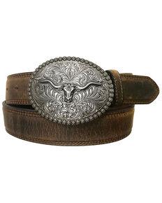 Cody James Men's Longhorn Berry Edge Buckle Belt, Tan, hi-res