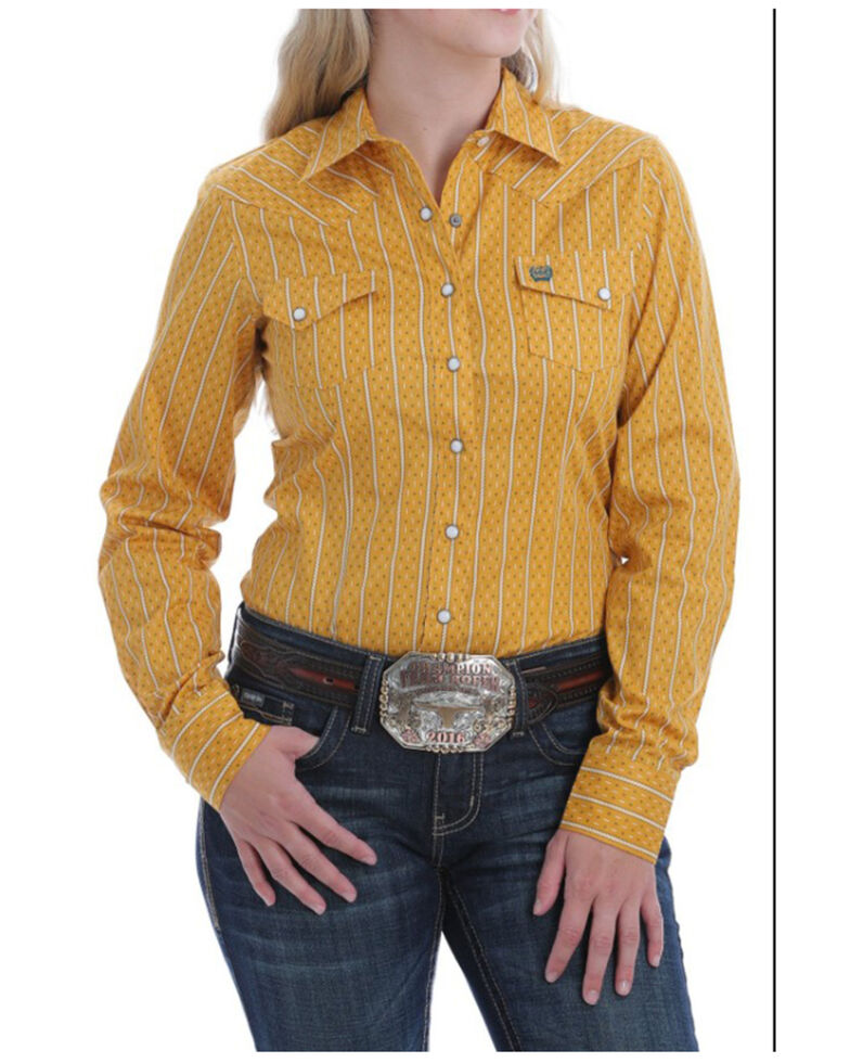 Cinch Women's Gold Geo Stripe Snap Long Sleeve Western Shirt , Dark Yellow, hi-res