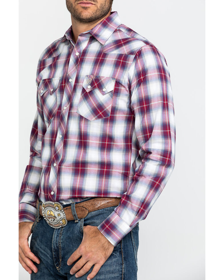 Wrangler Retro Men's Red Plaid Snap Long Sleeve Western Shirt , Red, hi-res