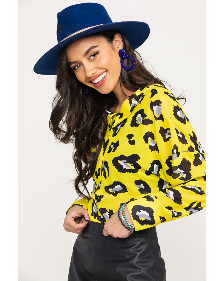 Flying Tomato Women's Yellow Leopard Long Sleeve Top, Yellow, hi-res