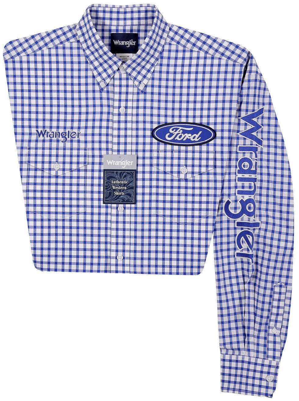 Wrangler Men's Long Sleeve Ford Logo Checkered Shirt - Big and Tall, , hi-res