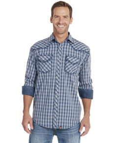 Cowboy Up Men's Blue Plaid Long Sleeve Snap Vintage Shirt, Blue, hi-res