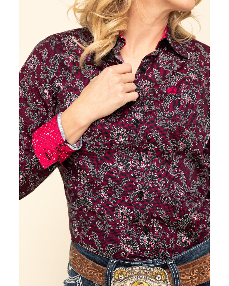 Cinch Women's Floral Paisley Button Long Sleeve Western Shirt, Multi, hi-res