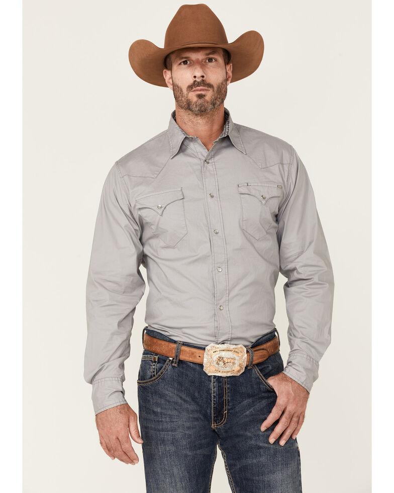 Tin Haul Men's Solid Poplin Grey Long Sleeve Western Shirt , Grey, hi-res