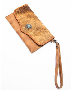Shyanne Women's Bryndle Hair On Concho Wristlet Leather Wallet , Brown, hi-res