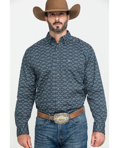 Ariat Men's Flossmoor Stretch Aztec Geo Print Long Sleeve Western Shirt , Brown, hi-res