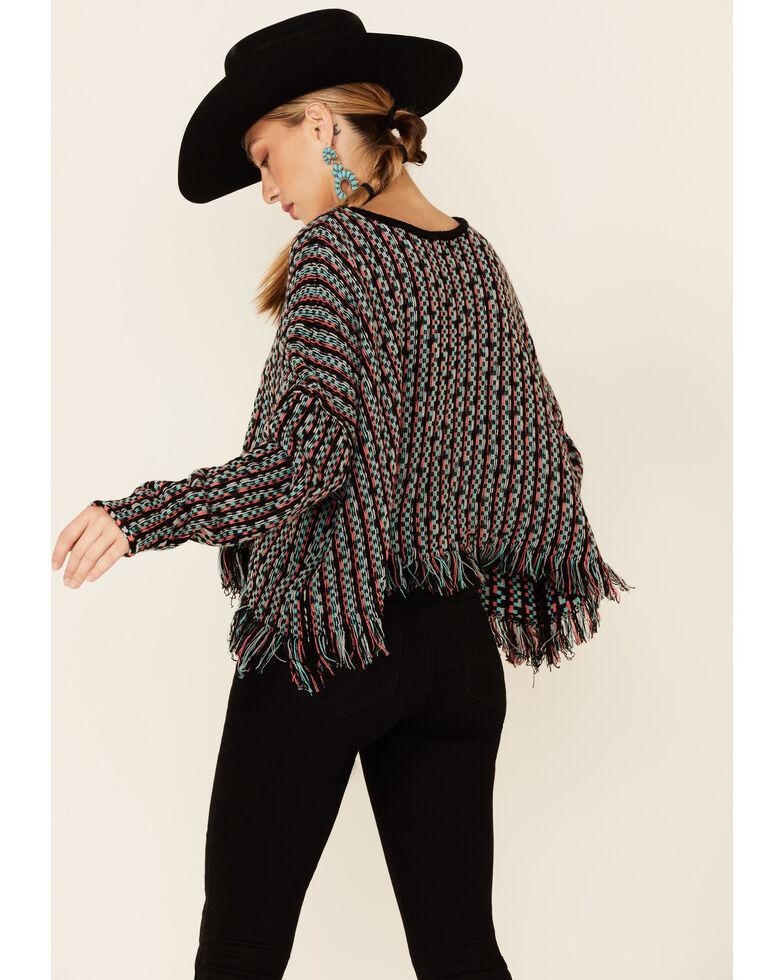 Rock & Roll Denim Women's Multi Stripe Frayed Edge Sweater , Coral, hi-res