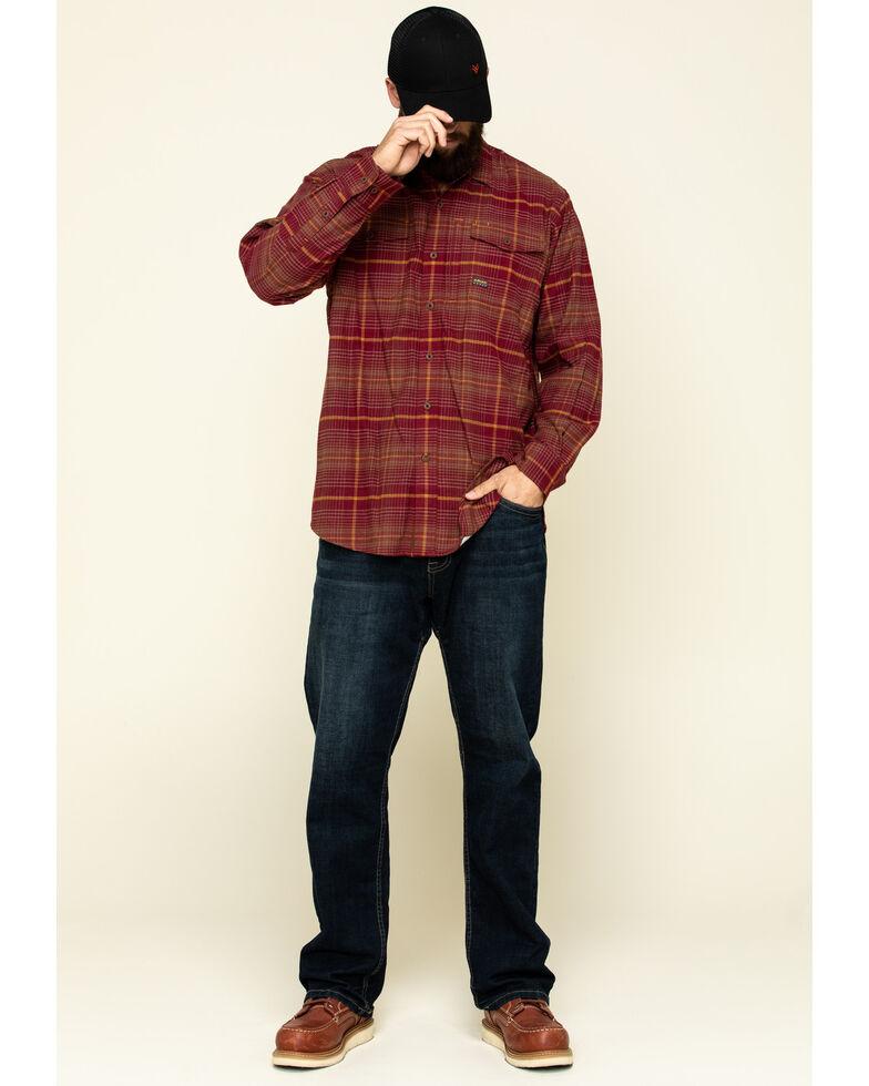 Ariat Men's Cabernet Rebar Flannel Durastretch Plaid Long Sleeve Button-Down Work Shirt , Wine, hi-res