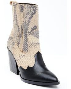 Dan Post Women's Snake Print Fashion Booties - Snip Toe, Black, hi-res