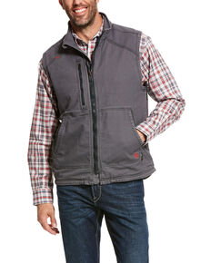 Ariat Men's FR Duralight Stretch Canvas Work Vest - Tall, Grey, hi-res