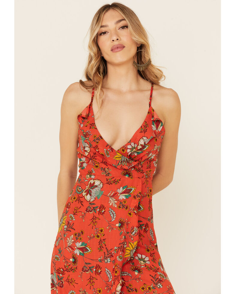 Molly Bracken Women's Red Floral Print Lace Dress, Navy, hi-res