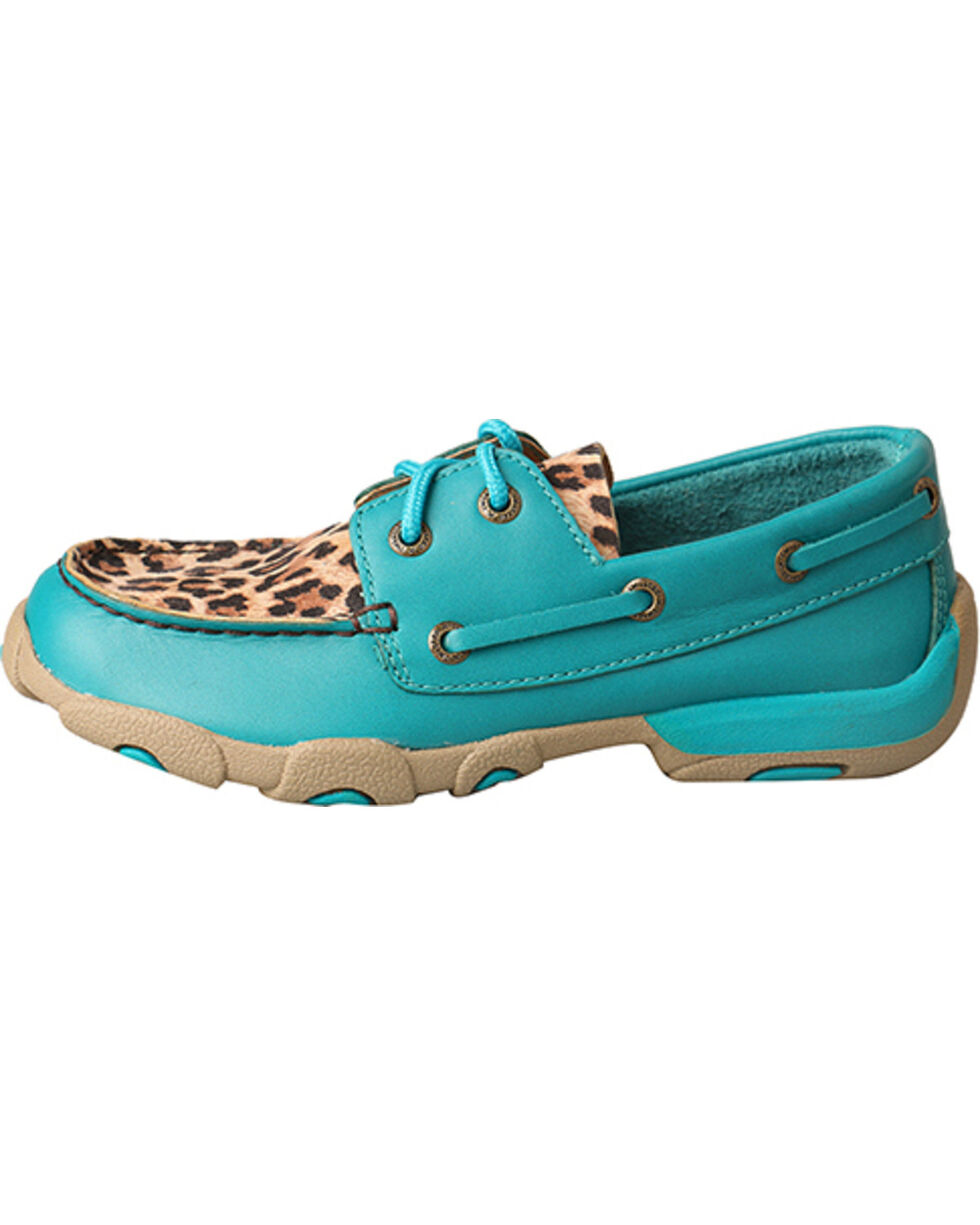 Twisted X Girls' Turquoise Driving Moccasins - Moc Toe , Turquoise, hi-res
