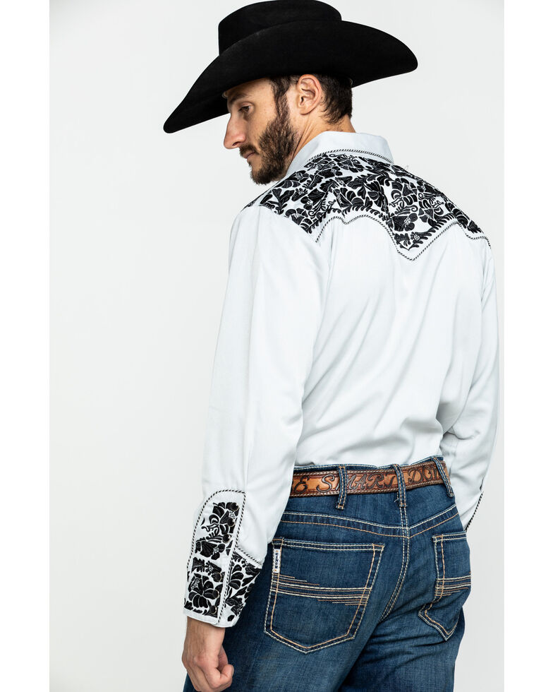 Scully Men's Floral Tool Embroidered Long Sleeve Western Shirt, Steel, hi-res