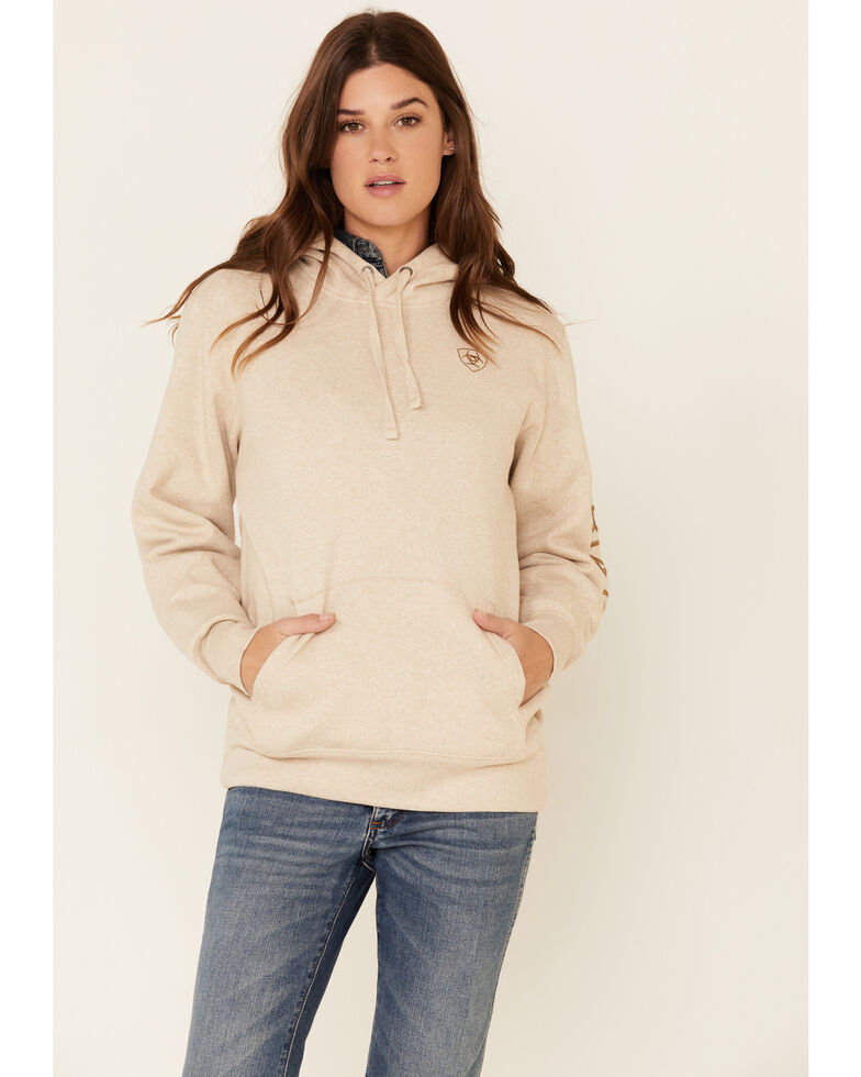 Ariat Women's Oatmeal Embroidered Logo Hooded Sweatshirt , Oatmeal, hi-res