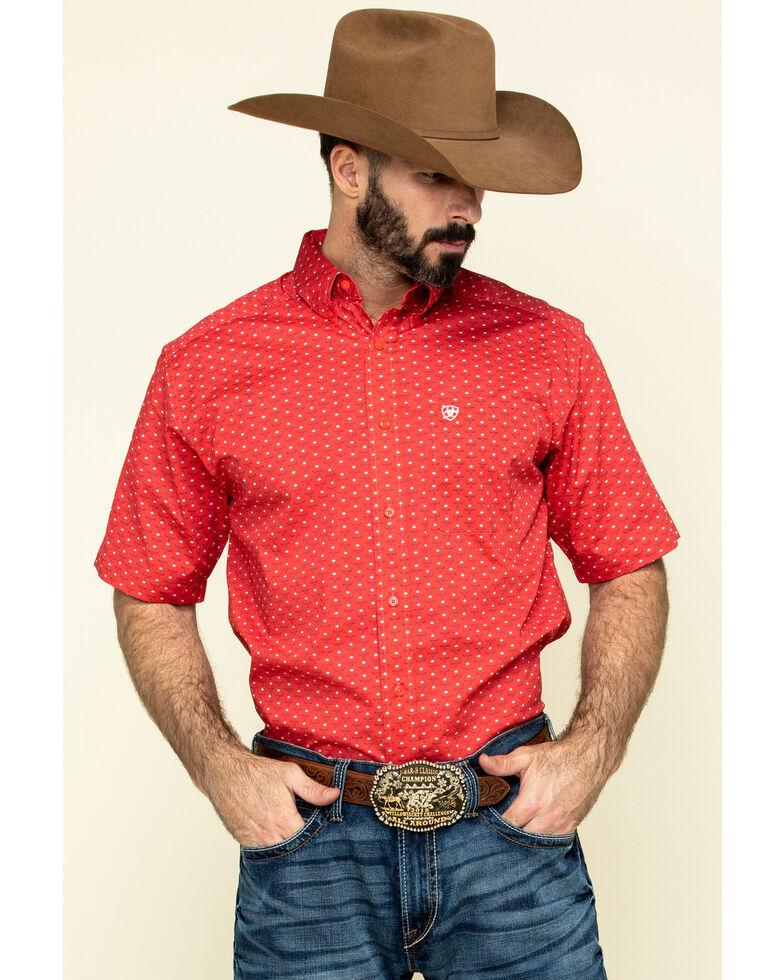 Ariat Men's Stanton Bull Geo Print Short Sleeve Western Shirt , Red, hi-res