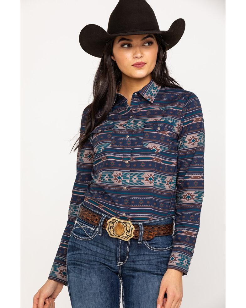 Roper Women's Blue Aztec Long Sleeve Shirt, Blue, hi-res