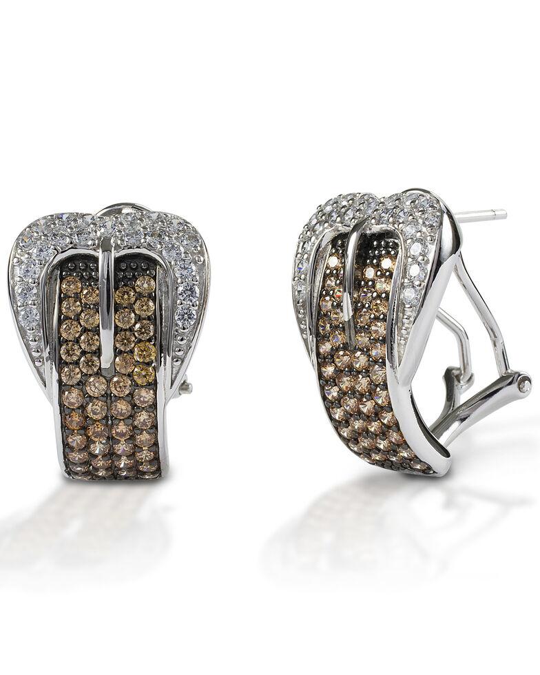 Kelly Herd Women's Cognac Buckle Earrings , Silver, hi-res