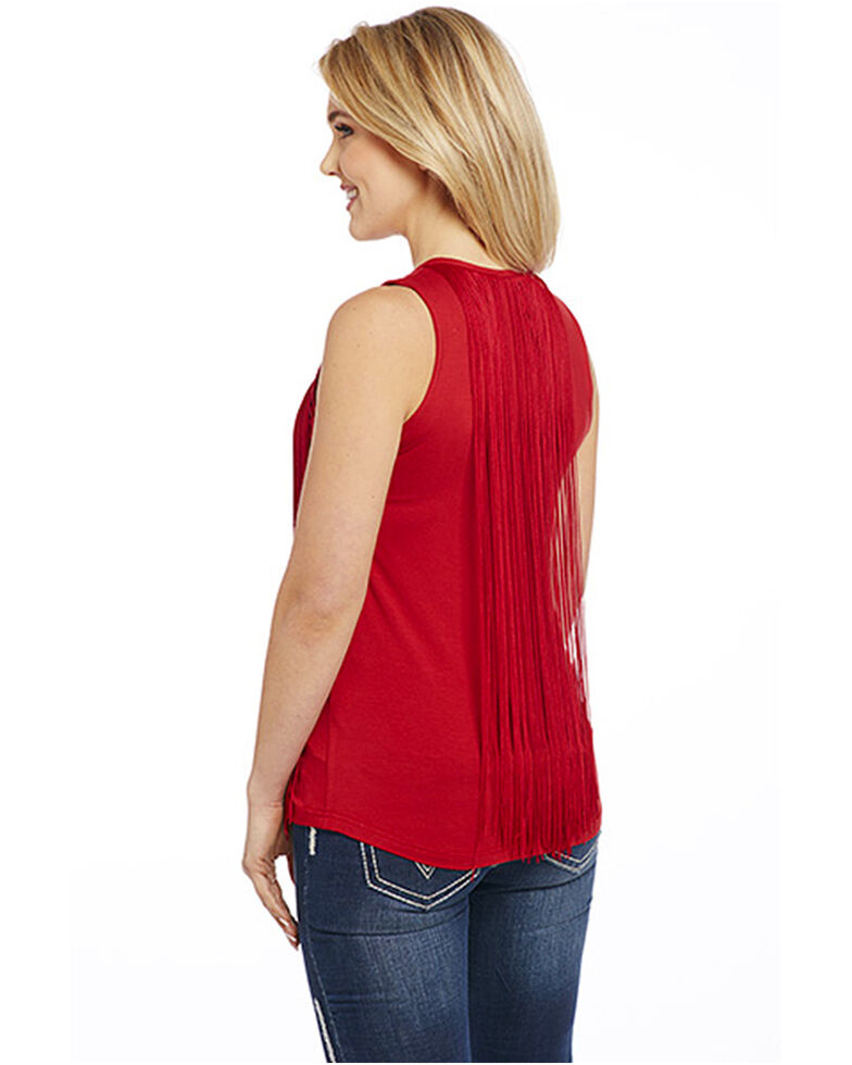 e238937ef09dd8 Cowgirl Up Women s Fringe Trim Sleeveless Top - Country Outfitter