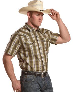 Cody James Men's Standing Bear Plaid Striped Short Sleeve Shirt, Olive, hi-res