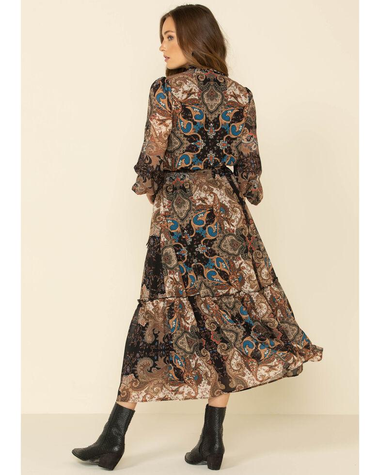 Flying Tomato Women's Paisley Print Maxi Dress, Black, hi-res