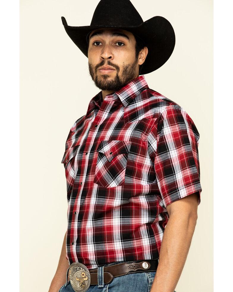 Ely Walker Men's Burgundy Plaid Short Sleeve Western Shirt , Burgundy, hi-res