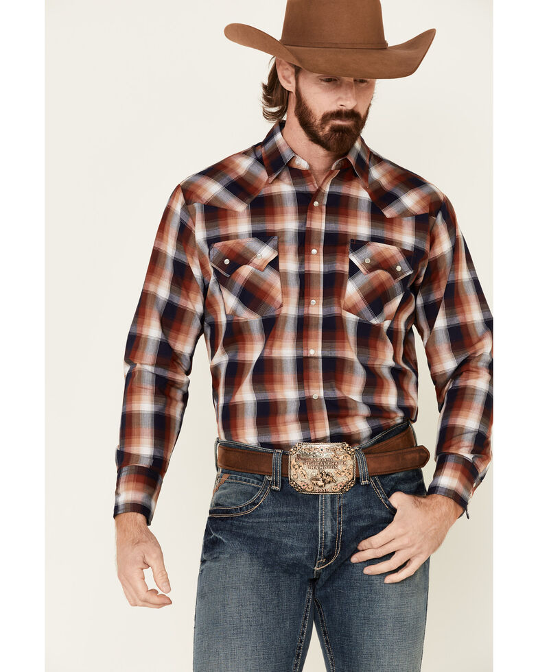 Ely Walker Men's Rust Small Plaid Long Sleeve Western Shirt - Tall, Rust Copper, hi-res
