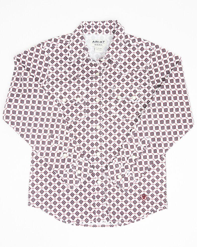 Ariat Girls R.E.A.L Mill Geo Print Long Sleeve Western Core Shirt , White, hi-res