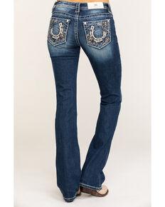 Miss Me Women's Whimsical Horseshoe Chloe Bootcut Jeans , Blue, hi-res