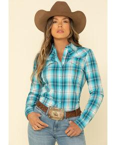 Amarillo Women's Blue Turquoise Plaid Long Sleeve Western Shirt , Blue, hi-res