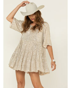 By Together Women's Black & Gold Sequin Short Sleeve Mini Dress , Gold, hi-res