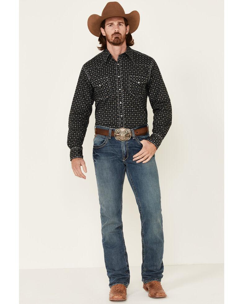 Cinch Men's Black Aztec Geo Print Long Sleeve Snap Western Shirt , Black, hi-res