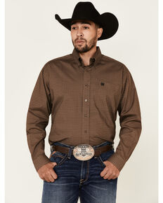Cinch Men's Brown Stretch Diamond Geo Print Long Sleeve Western Shirt , Brown, hi-res