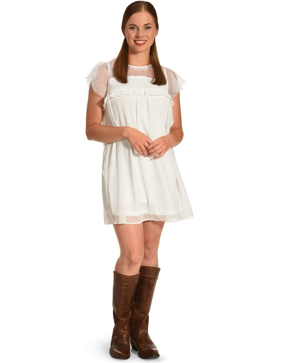 Polagram Women's White Lace Ruffle Sleeve Dress, White, hi-res