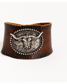 Idyllwind Women's The Steer Horn Leather Bracelet, Brown, hi-res