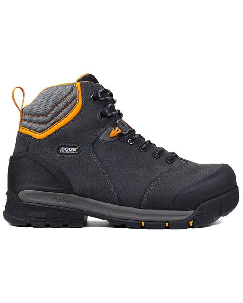 "Bogs Men's Bedrock 6"" Waterproof Work Boots - Composite Toe, Black, hi-res"