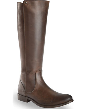 Frye Women's Chocolate Melissa Stud Back Zip Boots - Round Toe , Chocolate, hi-res