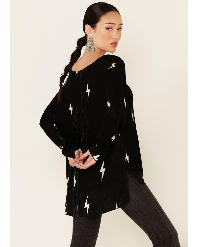 Revel Women's Black Lightening V-Neck Pullover Sweater , Black, hi-res