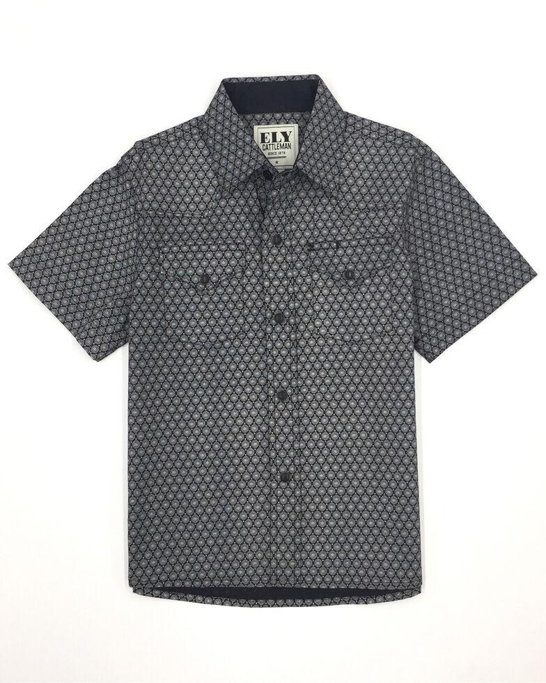Ely Cattleman Boys' Black Geo Print Short Sleeve Western Shirt , Black, hi-res