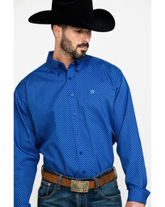 Cinch Men's Royal Blue Diamond Geo Print Long Sleeve Western Shirt , Royal Blue, hi-res