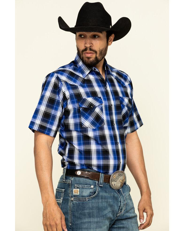 Ely Cattleman Men's Multi Med Plaid Short Sleeve Western Shirt - Tall , Blue, hi-res