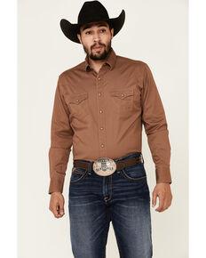 Wrangler Retro Premium Men's Brown Solid Long Sleeve Western Shirt , Brown, hi-res