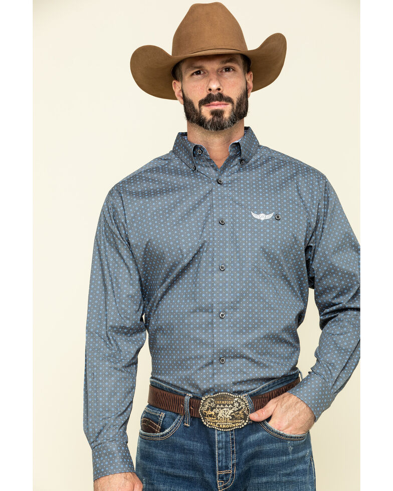 Ariat Men's Relentless Forceful Stretch Geo Print Long Sleeve Western Shirt , Blue, hi-res