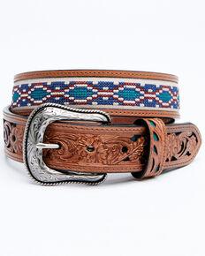 Cody James Men's Multi Color Cross Stitch Western Belt, Chocolate, hi-res