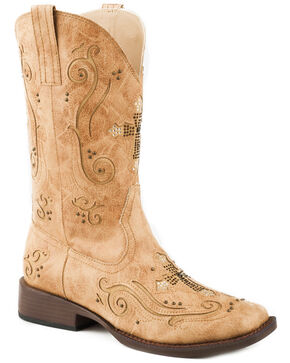 Roper Women's Tan Faith Cross Inlay Boots - Square Toe , Tan, hi-res