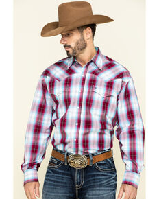 Stetson Men's Spring Ombre Plaid Long Sleeve Western Shirt , Red, hi-res